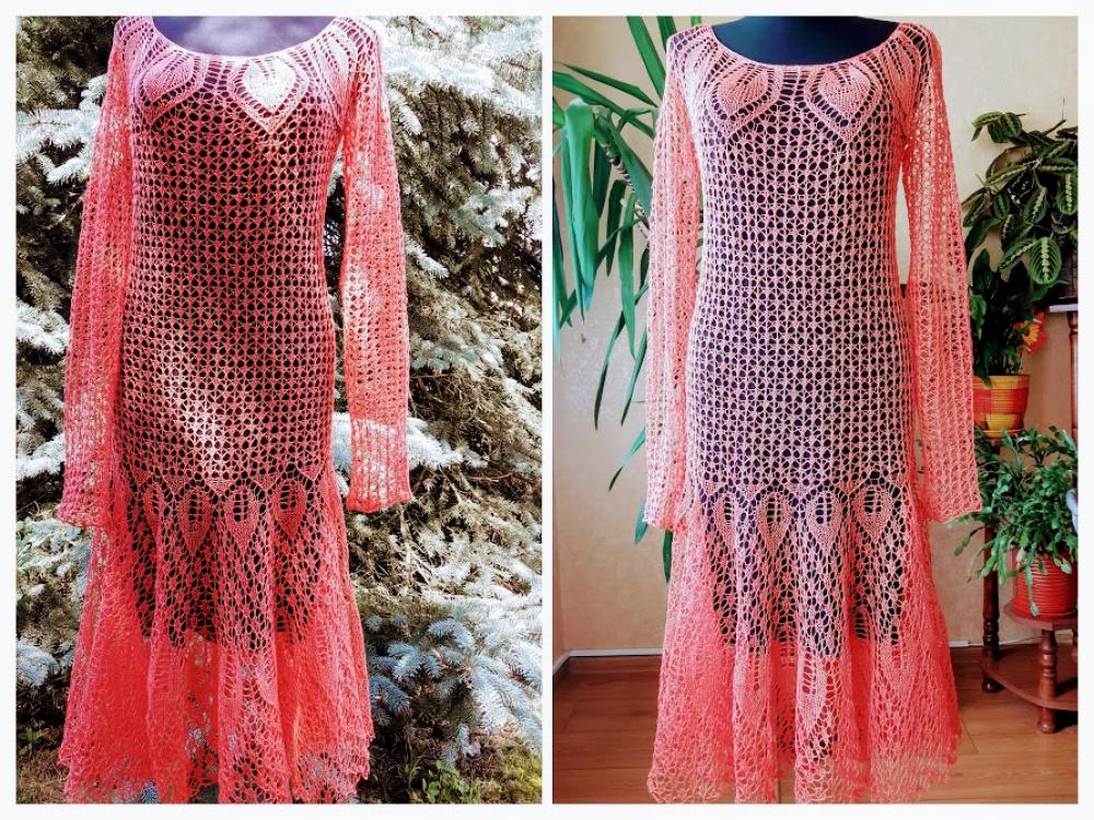 Lininė koralo spalvos suknelė