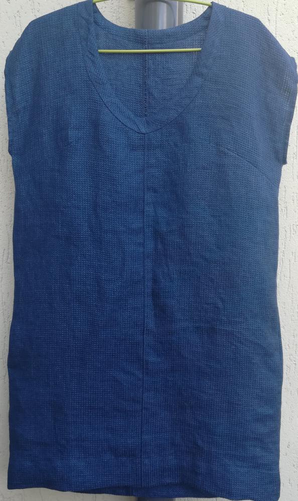 Lininė mėlyna suknelė