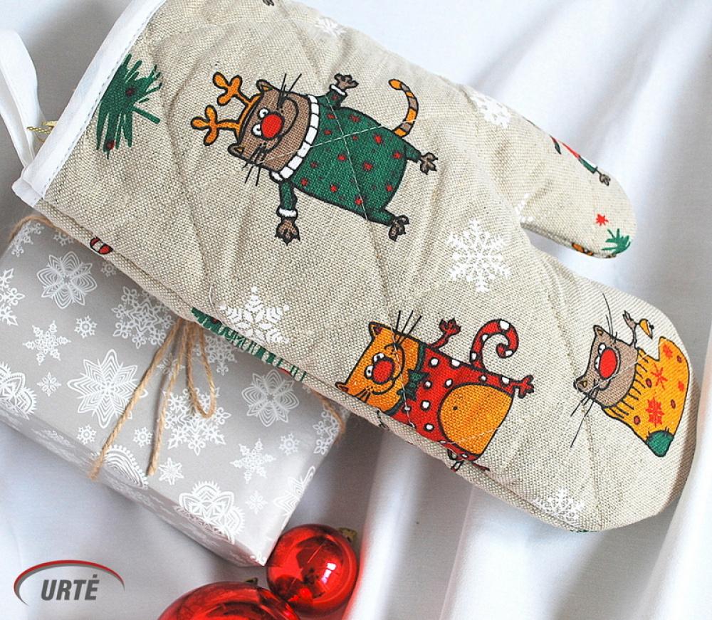 """Lininė virtuvės pirštinė - puodkėlė """"Kalėdiniai katinai"""""""
