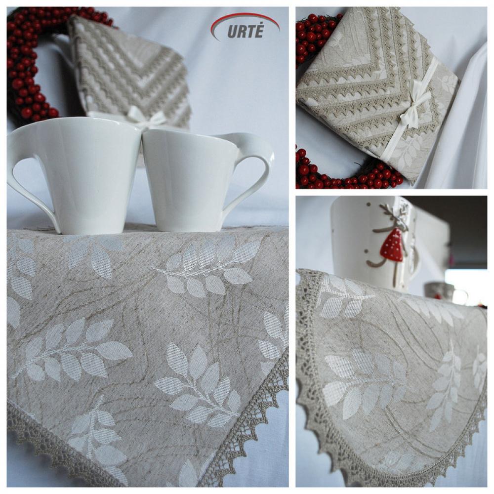 Lininės servetėlės su nėrinuku - lapeliai