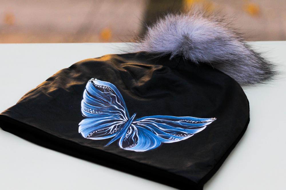 Medvilnės/eko odos kepurytė - Drugelis
