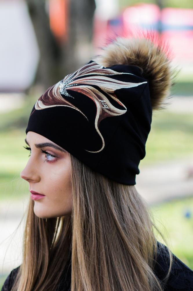 Medvilnės kepurytė - Karamelinis žiedas
