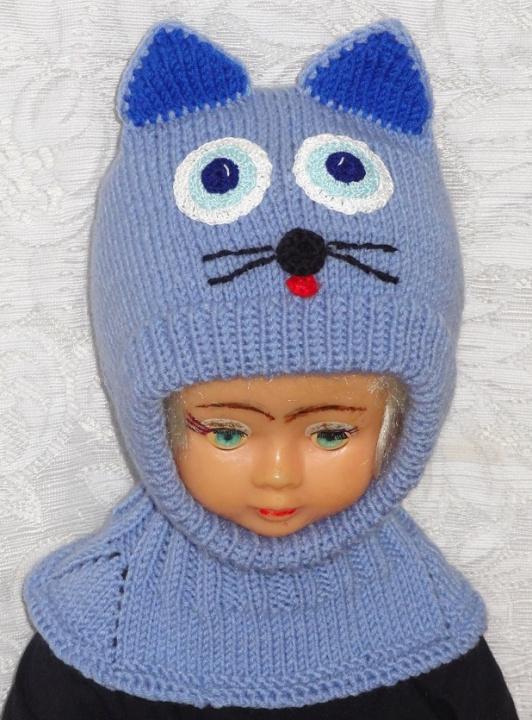 Mėlynas katinas kepurė šalmas