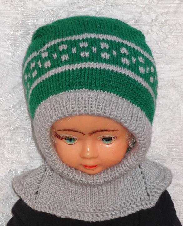 Merino vilnos kepurė Žalia pilka