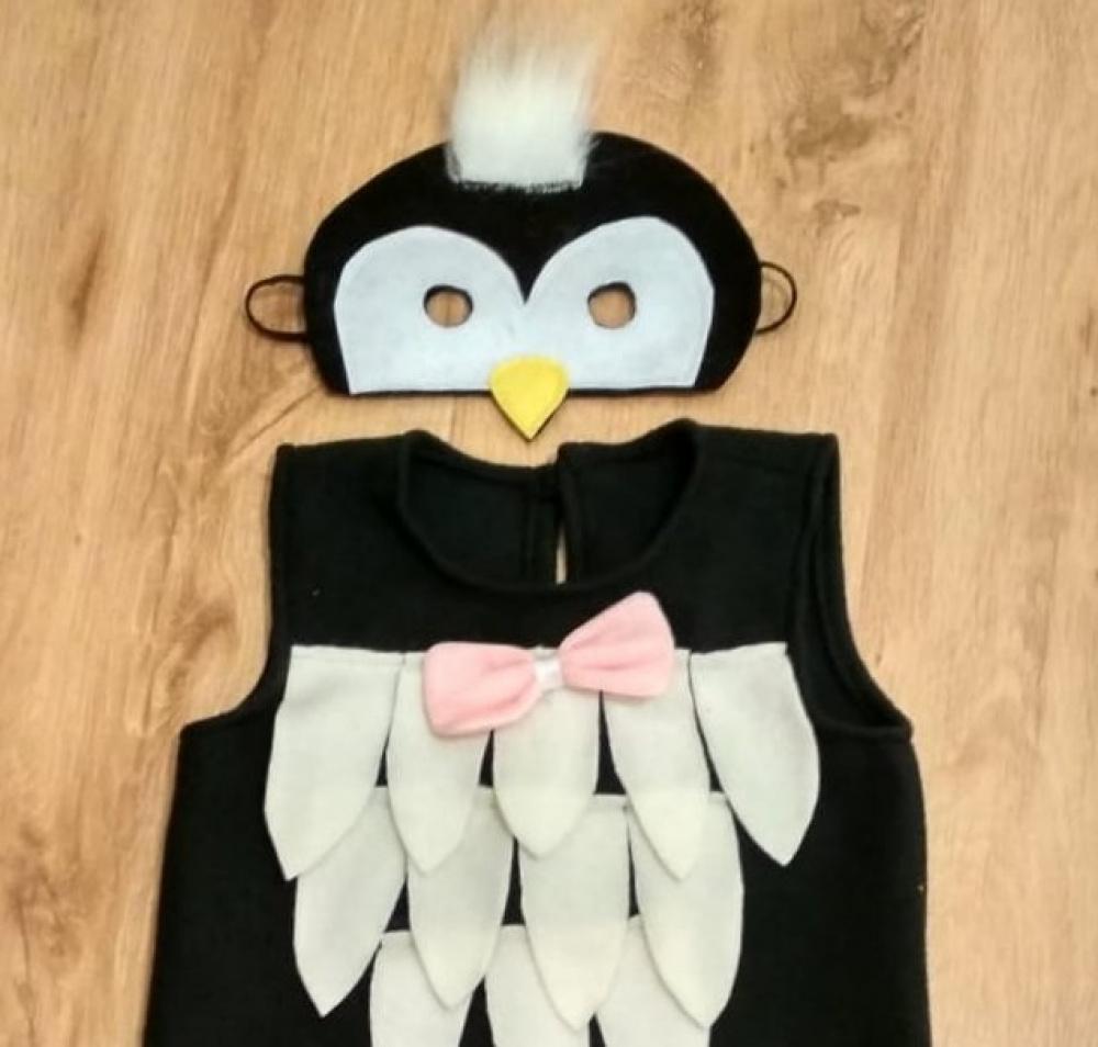 Pingvinukės, pingvino karnavalinis kostiumas mergaitei