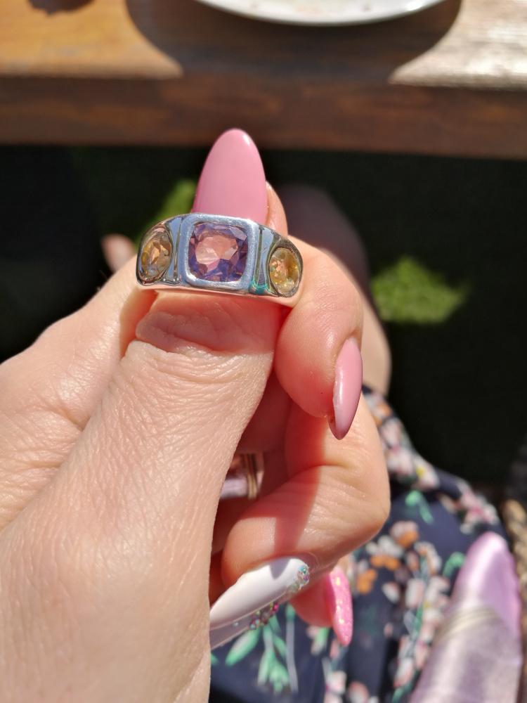 Sidabrinis žiedas su ametistu ir citrinais
