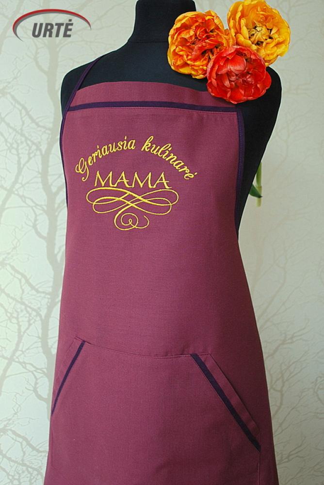 Siuvinėta prijuostė Mamos dienos proga - Geriausia kulinarė - MAMA