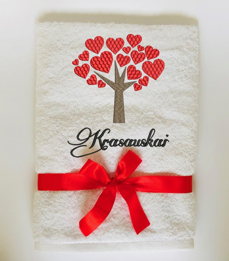 "Siuvinėtas rankšluostis vesuvėms - įkurtuvėms ""Šeimos meilės medis"""