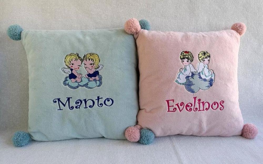 Siuvinėtos pagalvėlės  - dovana dvynukams :)