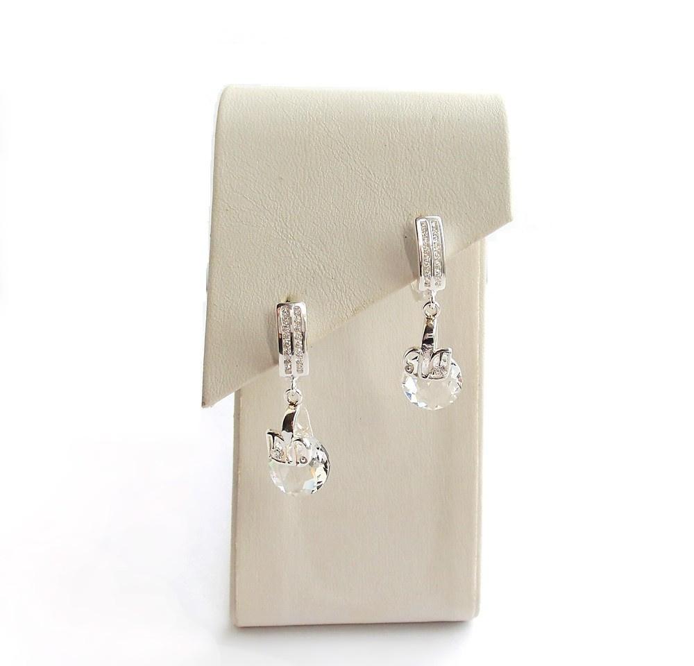 Skaidrūs puošnūs sidabriniai auskarai su swarovski ir gulbėmis