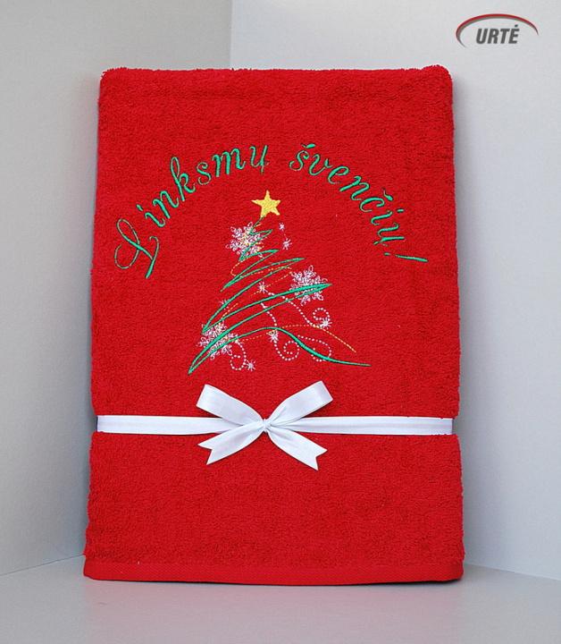 Stebuklinga eglė - Kalėdinių dovanėlių idėja - siuvinėtas rankšluostis