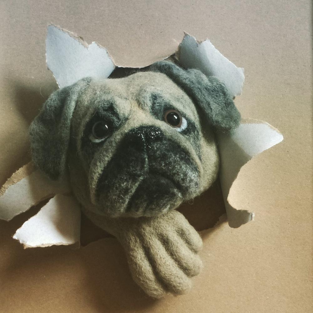 Šuns portretas Mopsų veislės šuniuko portretas Paveikslai interjero detalė Mano augintinis