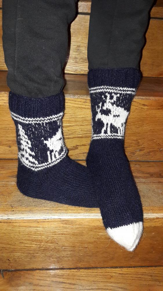 Tamsiai mėlynos kojinės su briedžiais