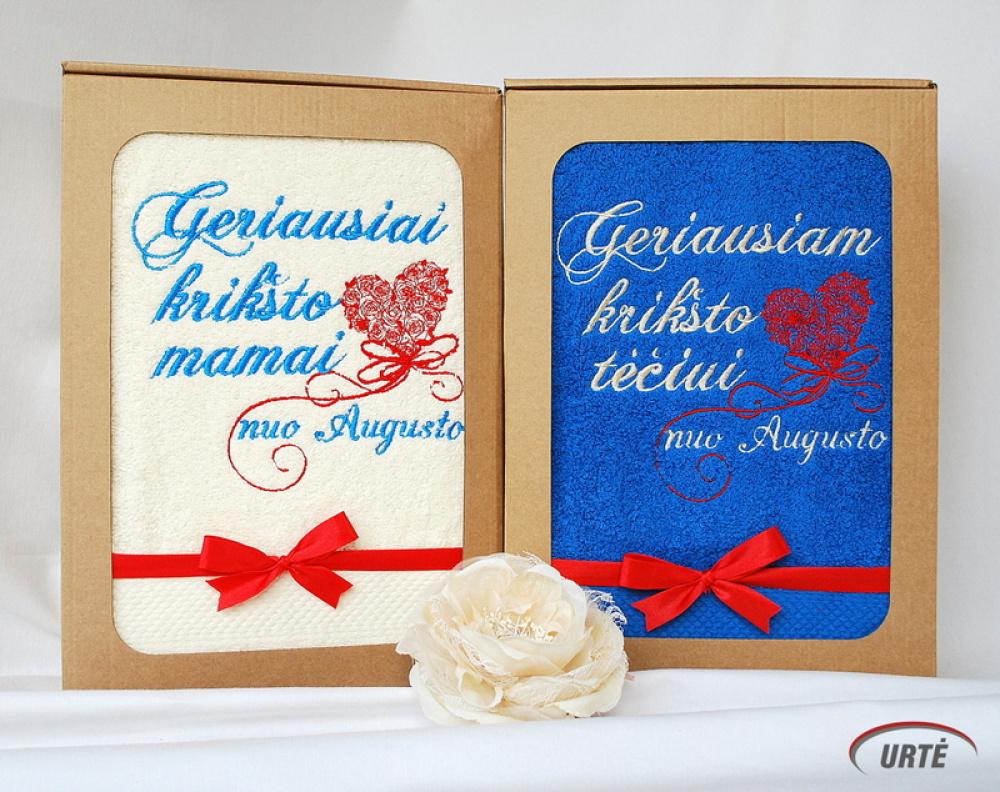 Vardinė dovana krikšto tėvams - siuvinėti rankšluosčiai - Skrajojanti širdis