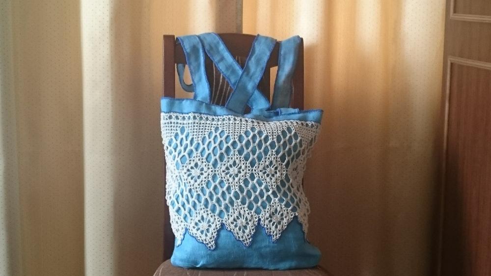 Vasarinis lininis krepšys su medvilnės nėriniais