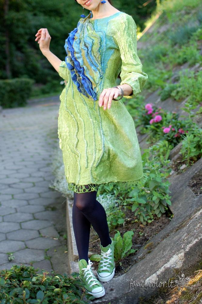 """Velta suknelė """"Žaliai melsva banga"""""""