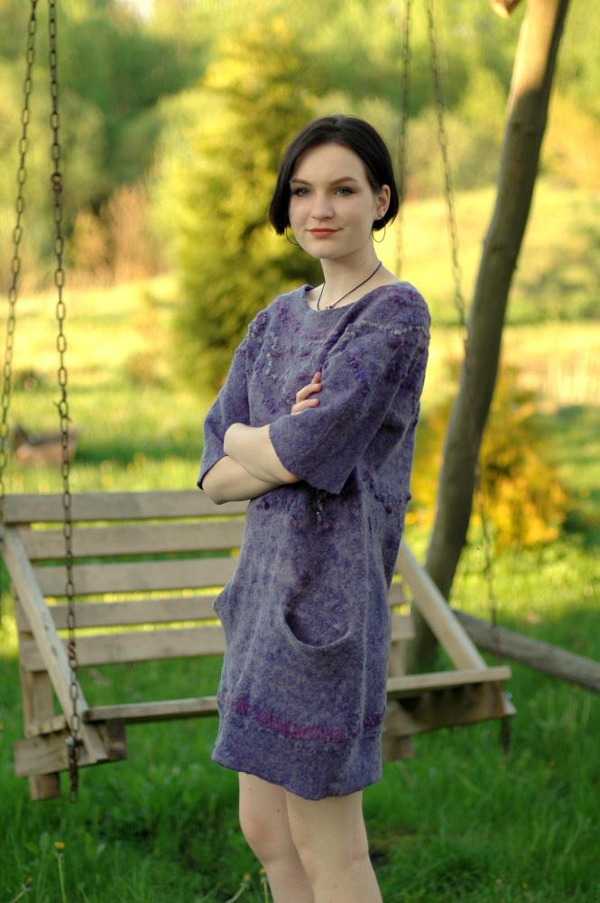 """Velta violetinė suknelė """"mintys"""""""