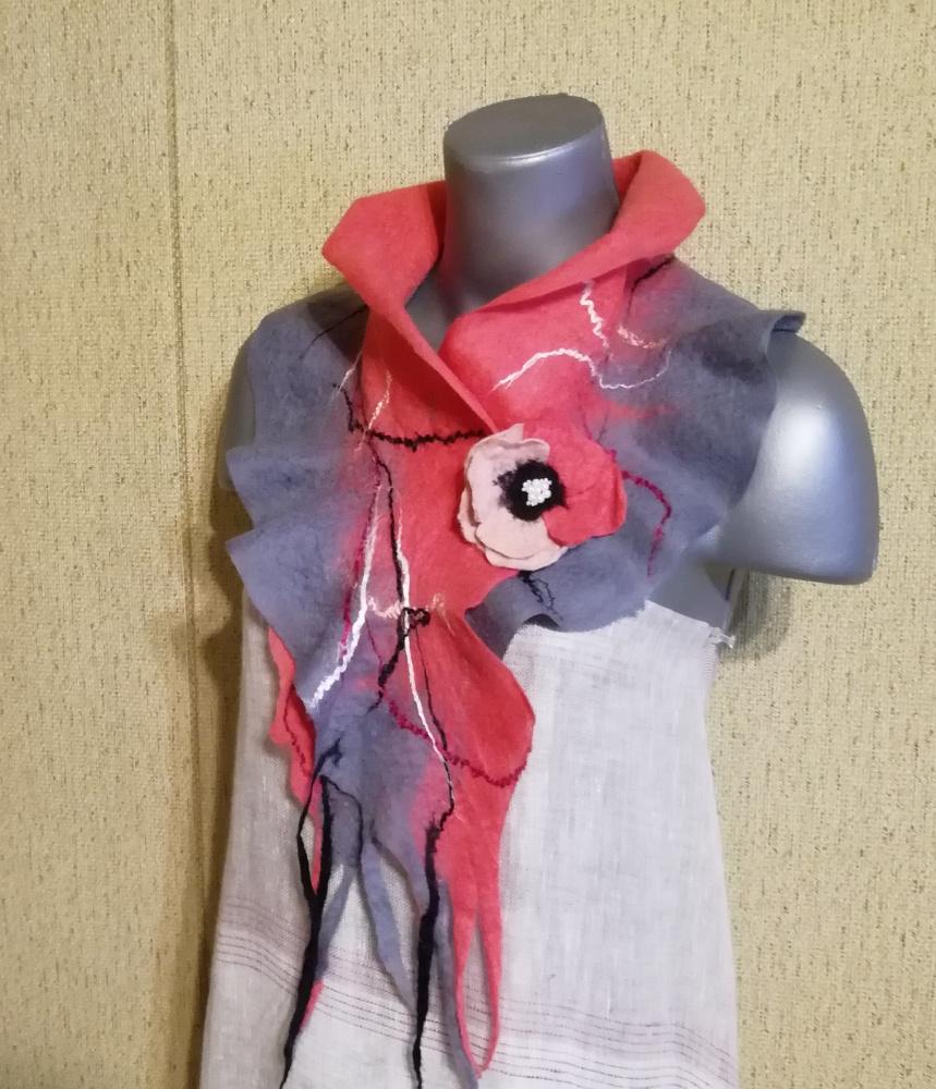 Veltas šalikas su sage pilkos-rausvos spalvų