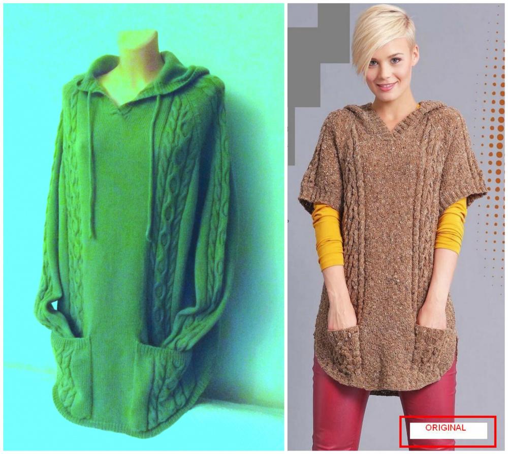 Žalsvas megztinis su kišenėmis ir gobtuvu