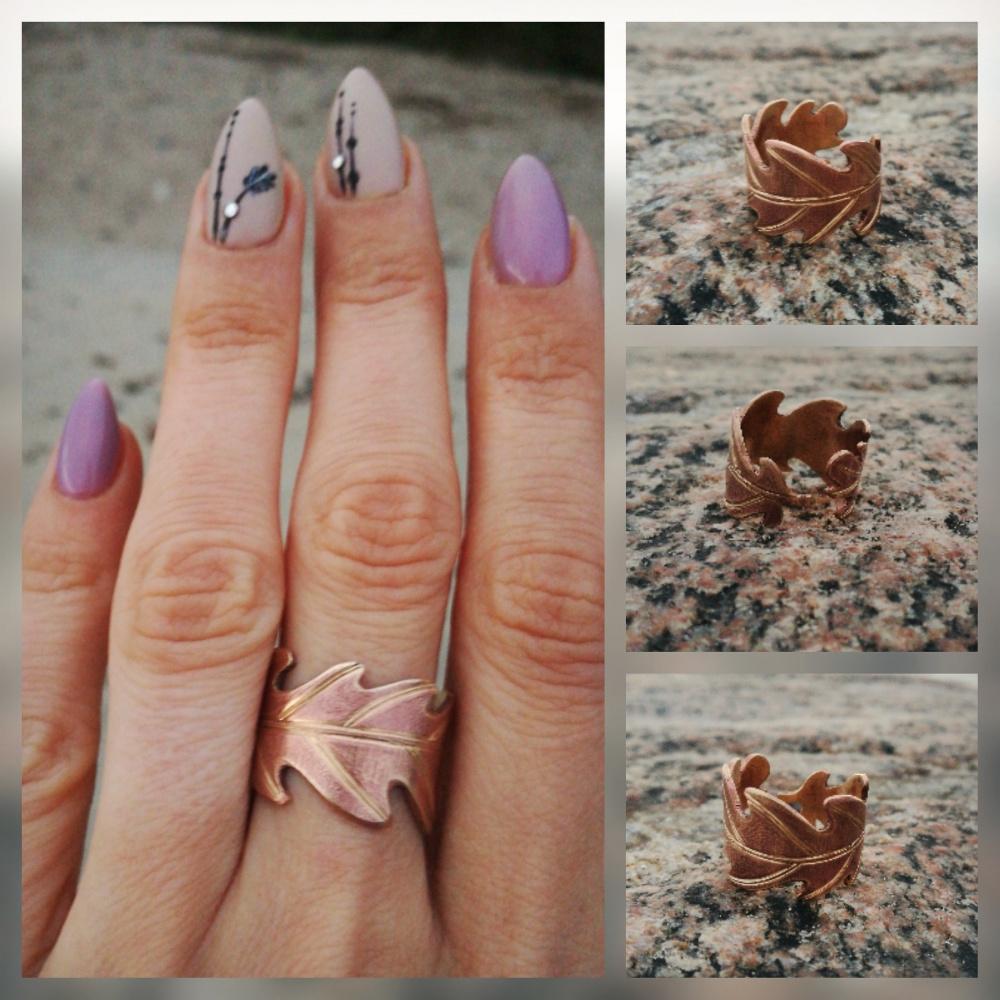 Žalvarinis  žiedas, ąžuolo lapas