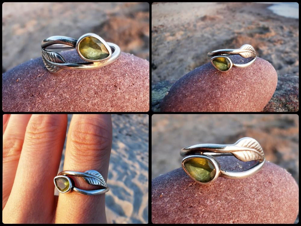 Žiedas Lapelis žalias