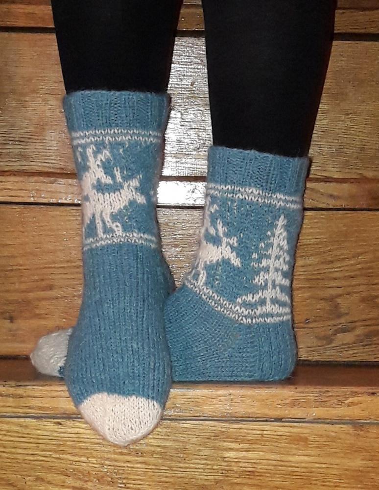 Žydros kojinės su briedžiais
