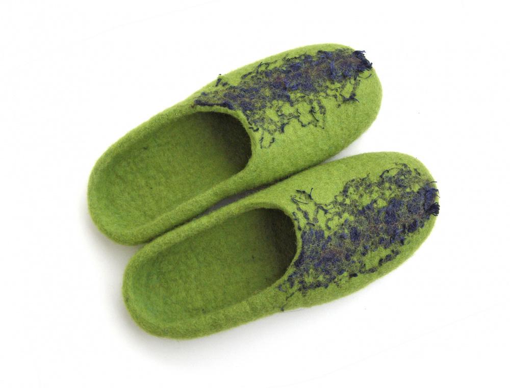 38-39 d. veltos šlepetės Lino juosta Žalios