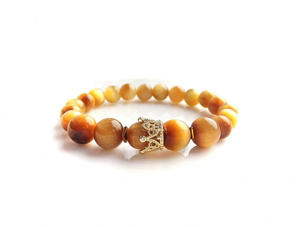 Auksinio tigro akmens su karūna apyrankė