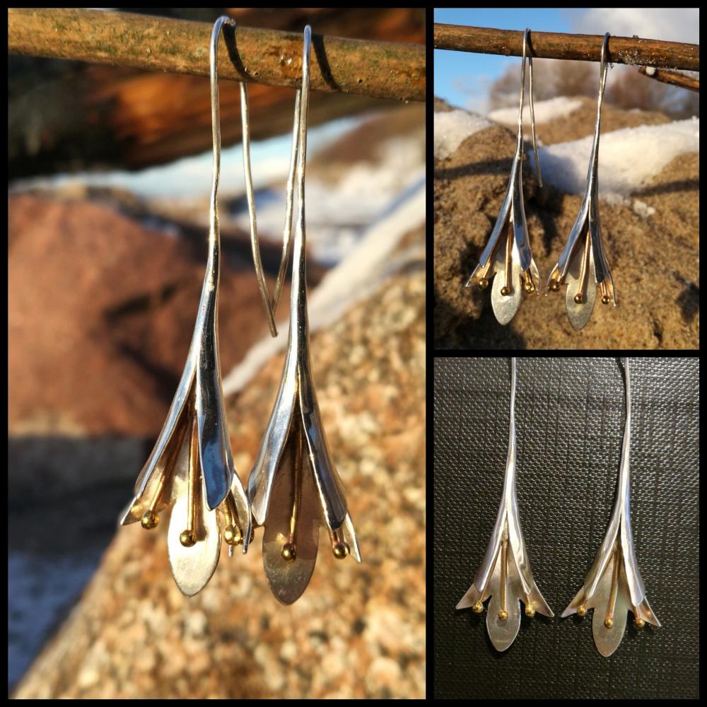 Auskarai sidabriniai su žalvariu