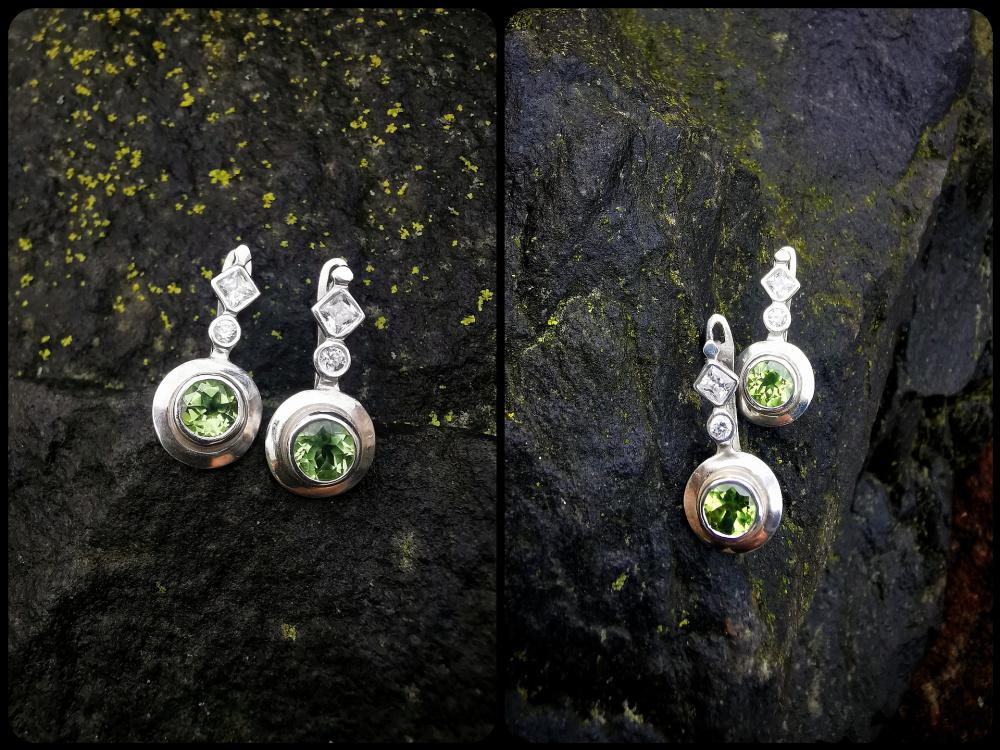 Auskarai su žaliais peridotais