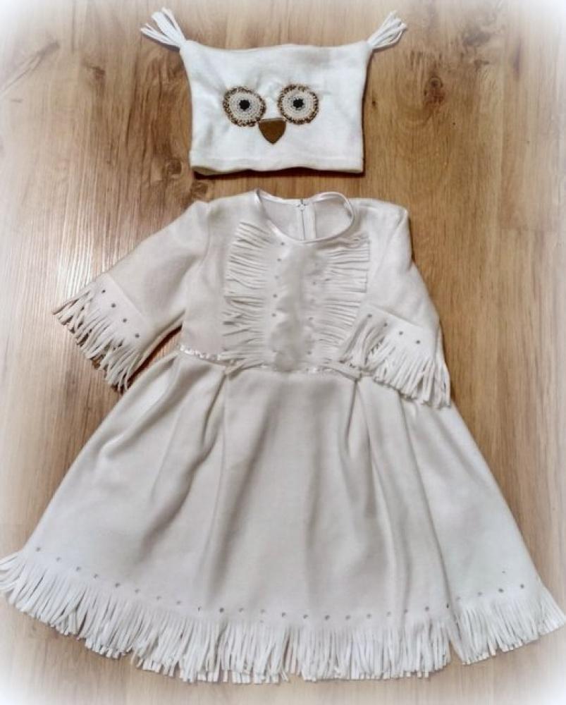 Baltos pelėdos karnavalinis kostiumas mergaitei +-110 -116 cm