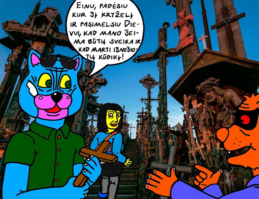 Batuotas ir Ksena Katinai su Raudonakiu pirmąkart lankosi Kryžių kalne