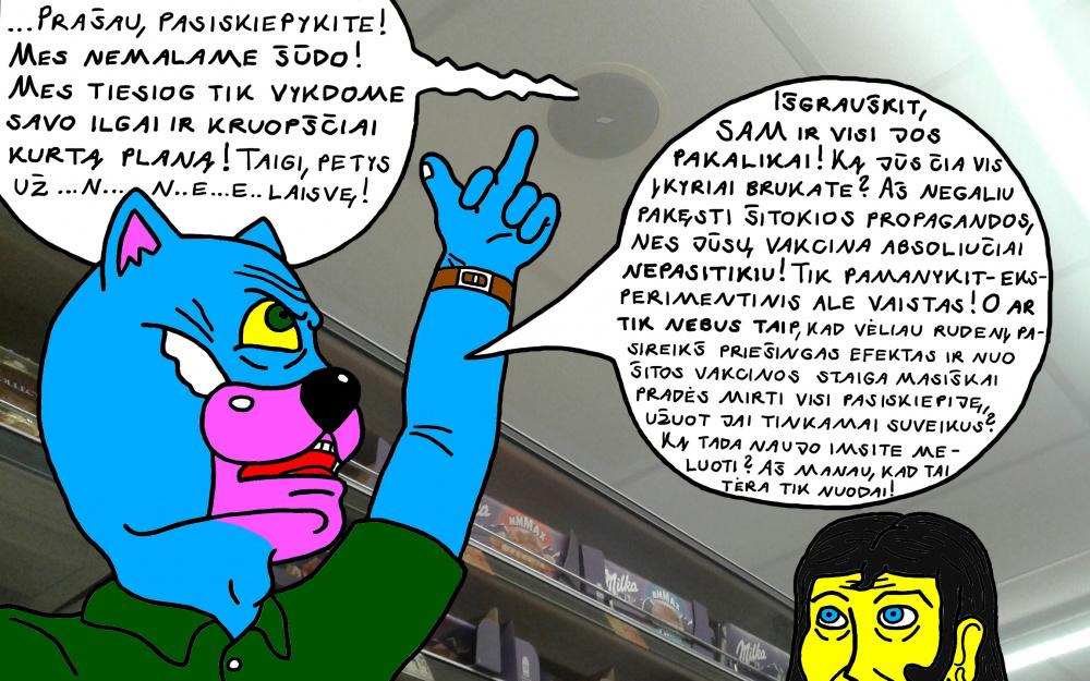 Batuotas Katinas atvirai peikia ir niekina Koronos skiepų propagavimą miesto parduotuvėse