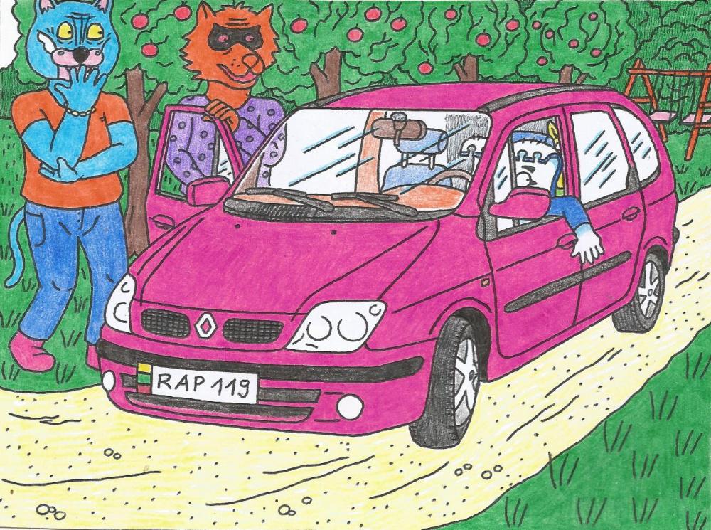 Batuotas Katinas nuvyko Papyvesin, pamatyti naują Lakišių nusipirktą sau automobilį
