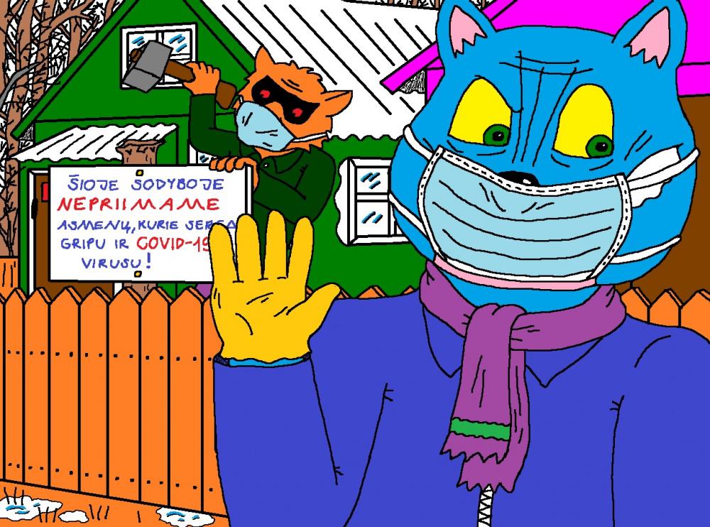"""Batuotas Katinas """"Papyvesio"""" sodyboje imasi priemonių saugotis Koronaviruso atėjimo..."""