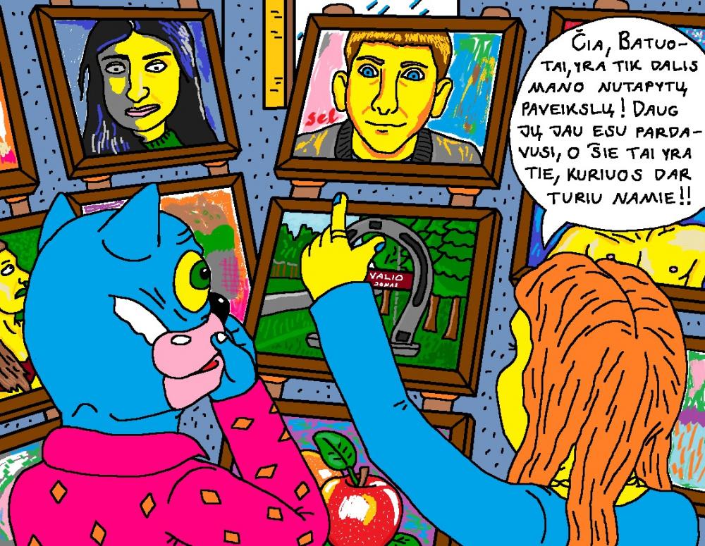 Batuotas Katinas svečiuose pas meno kuratorę Elegiją apžiūrinėja jos nutapytus paveikslus