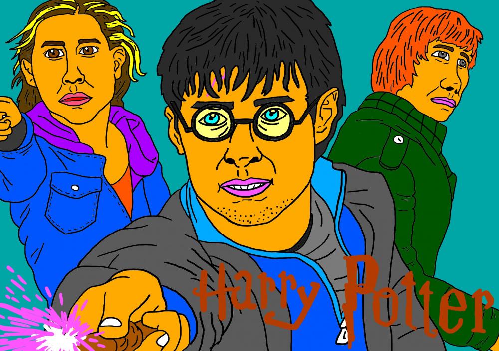 Burtininkas Haris Poteris su draugais piešinyje