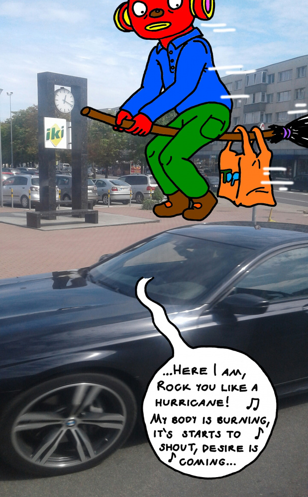Burtininkas Tukurutis skrieja per Panevėžio miestą, ant šluotos