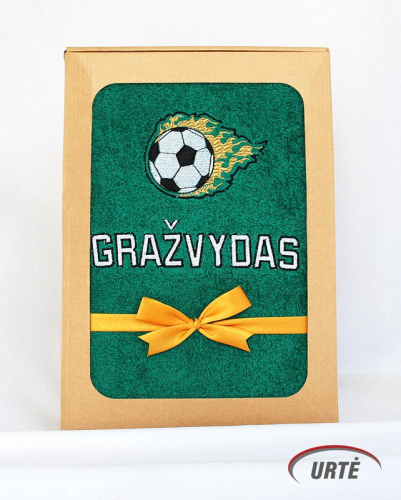 Dovana futbolo fanui - siuvinėtas vardinis rankšluostis
