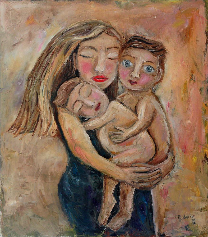 Du broliukai ir mama