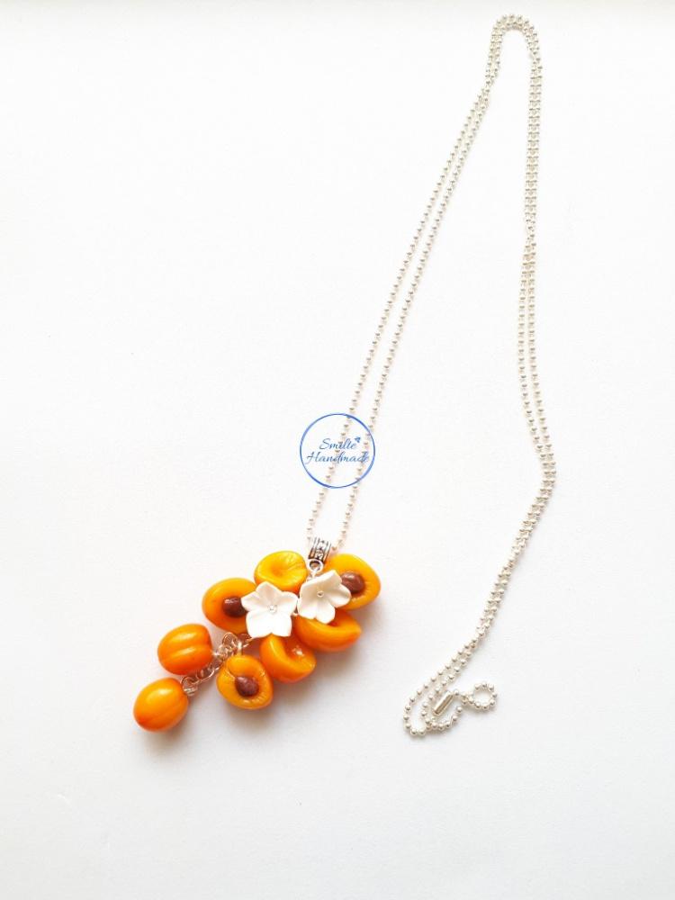 Ilgas kaklo papuošalas su persikais