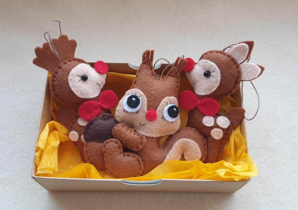 Kalėdiniai žaisliukai iš veltinio