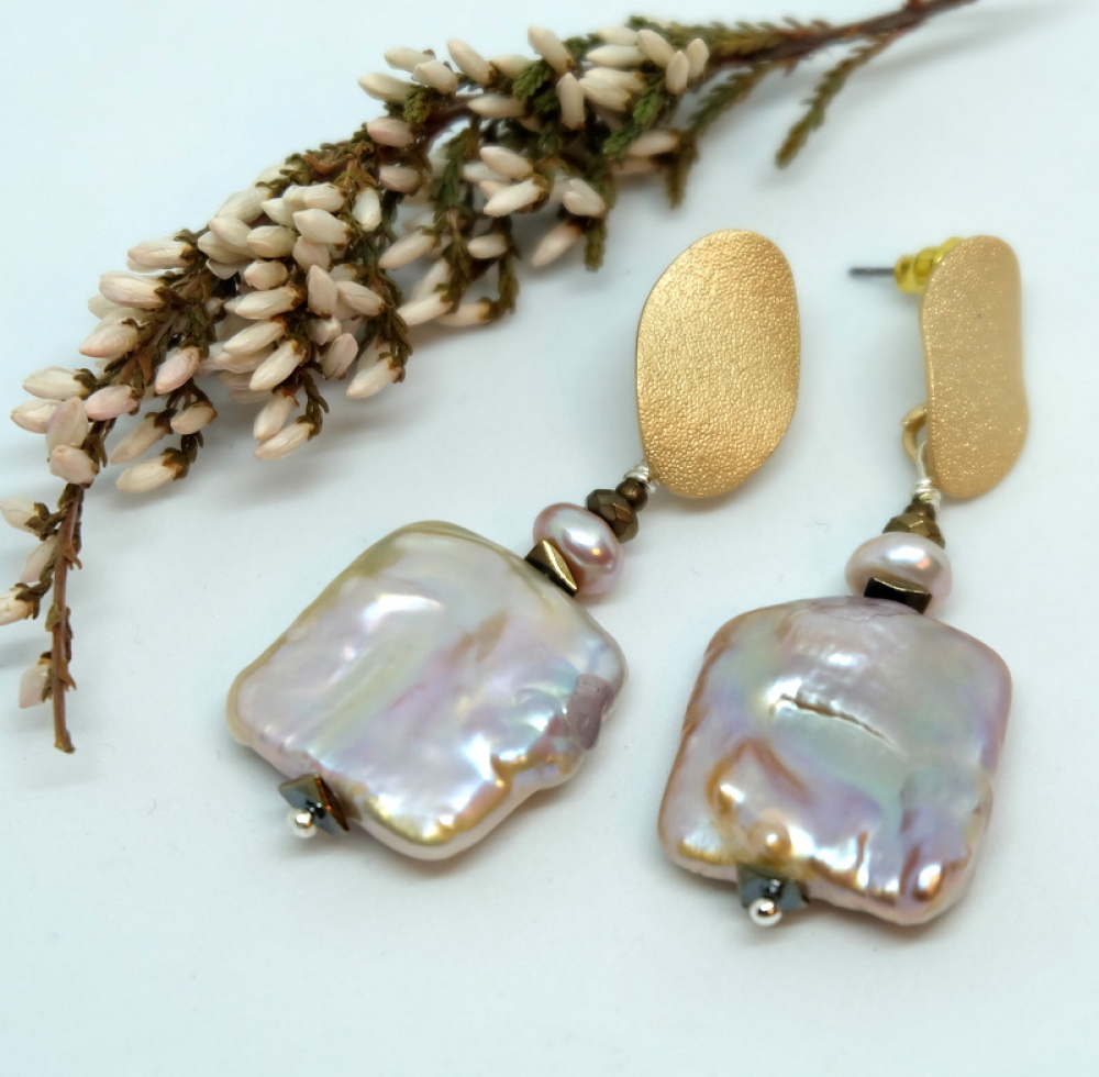 Keshi perlų auskarai