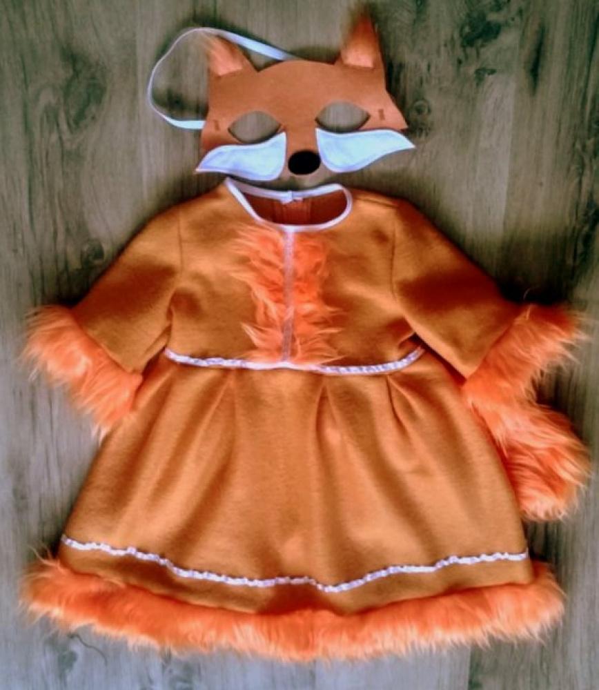 Lapės, laputės karnavalinis kostiumas mergaitei +-104 -110 cm su kauke