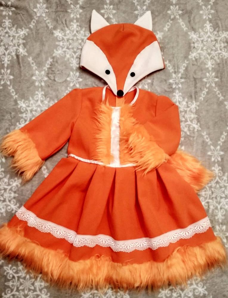 Laputės, lapės karnavalinis kostiumas mergaitei; +-104-110cm