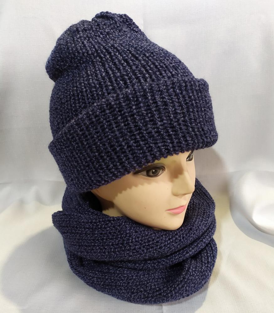 Megzta dviguba tamsiai mėlyno melandžo kepurė