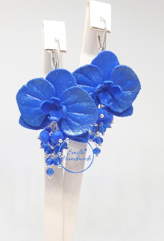 Mėlyni rankų darbo auskarai orchidėja