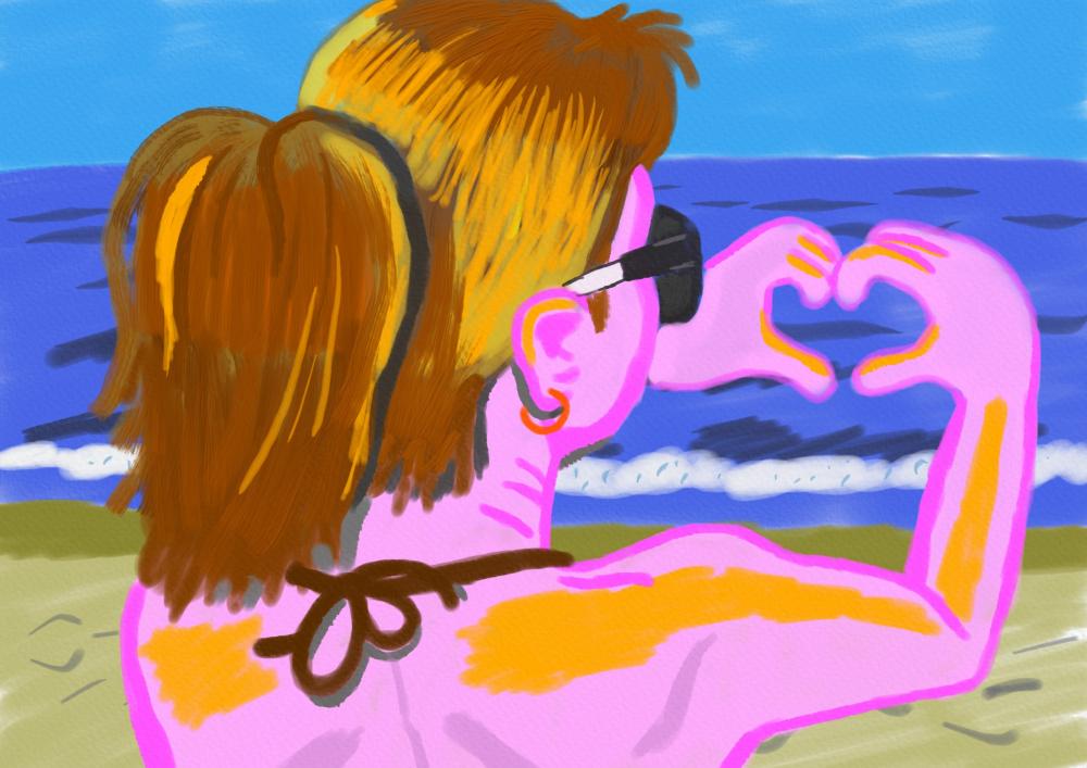Mergina prie jūros piešinyje