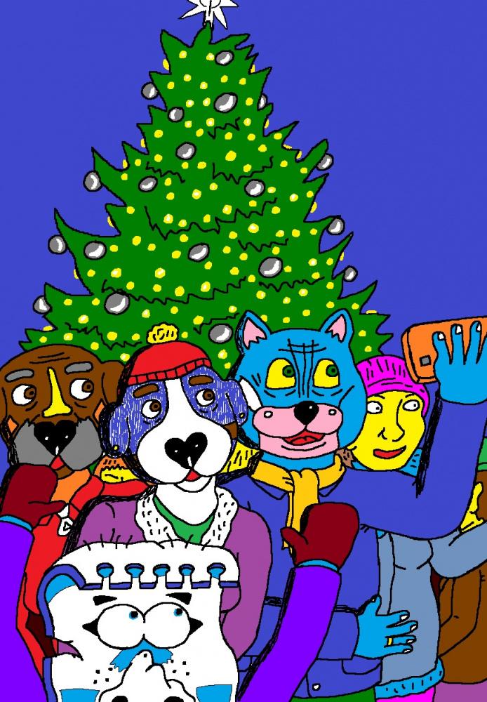 Nyciečiai Kupiškio mieste stebi kalėdinės eglės įžiebimą