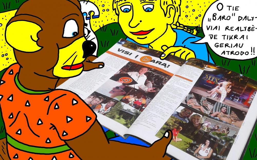 """Nyciečiai vaikai apžiūrinėja """"LNK"""" """"Baro"""" nuotraukas, žurnale """"Tik Vyrams"""""""